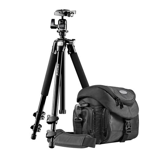 Mantona Premium Scout - Kit de trípode Completo con Bolsa, Negro