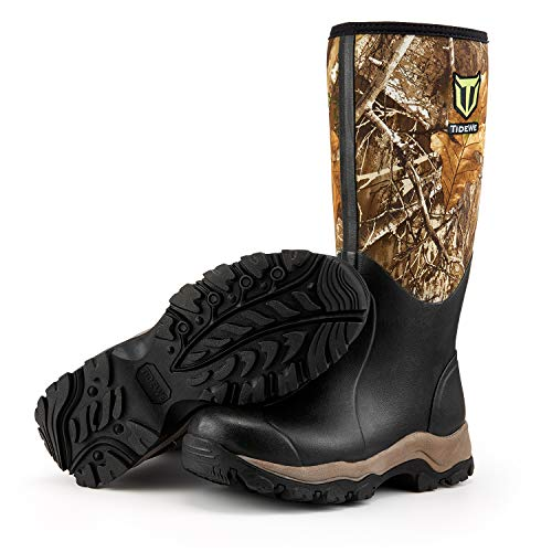 """TIDEWE Hunting Boot for Men, Insulated Waterproof Durable 16"""" Men's Hunting Boot, 6mm Neoprene and Rubber Outdoor Boot Realtree Edge Camo US Size 5"""