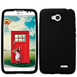 Mystcase (TM) For T-Mobile LG Optimus L70 Rubber SILICONE Soft Gel Skin Case Phone Cover + Screen Protector (Black)