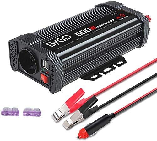 BYGD 600W Inverter Potenza da Auto 12V a 230V con 2 Porte Smart USB 1 Prese AC, Convertitore Potenza per Auto/Camper/Barca a Onda Sinusoidale Modificata