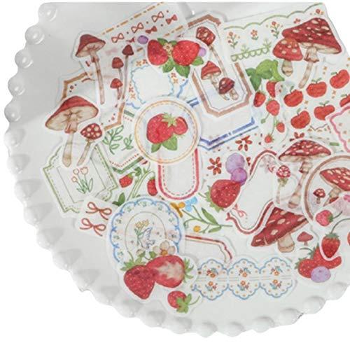 いちご きのこ 花柄 フレーム 和紙 フレークシール 4パック 160枚 手帳デコ 手帳シール かわいい デコレーションステッカー フォレストシリーズ 植物 【MIU&RMH】