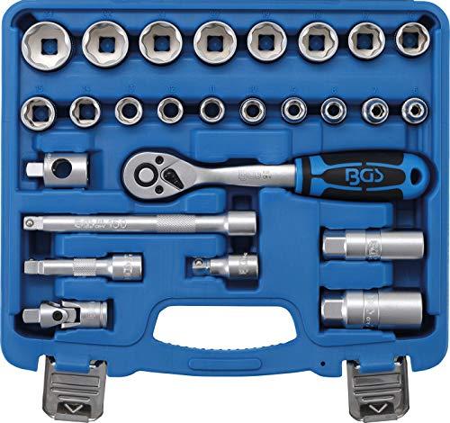 "BGS 2227 | Steckschlüssel-Satz Wellenprofil | 26-tlg. | Antrieb 10 mm (3/8\"") | inkl. Kunststoff-Koffer"