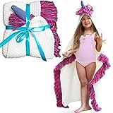 Unicorn Blanket for Kids - Girls Wearable Hooded Blanket Kids & Toddler Unicorn Gifts, Pink Purple with Purple Unicorn Horn - Comfy Kid Throw Blanket with Hood
