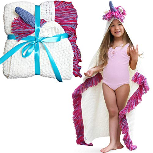 Unicorn Blanket for Kids - Girls Wearable Hooded Blanket Kids & Toddler Unicorn Gifts, Pink Purple...
