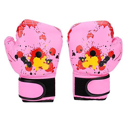 AYNEFY Boxhandschuhe Leder,Boxing Gloves EIN Paar PU Leder Kinder Boxhandschuhe Baby Mädchen Jungen Kinder Boxhandschuhe Schlag Training Kinder Kampfhandschuhe(pink)
