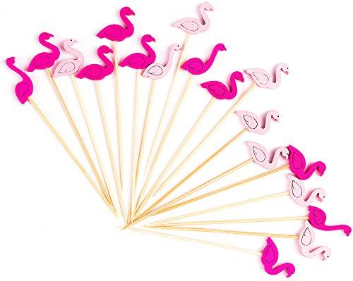 PuTwo Cocktail Picks Handmade Bamboo Toothpicks 100ct 4.7  in Flamingo Decor