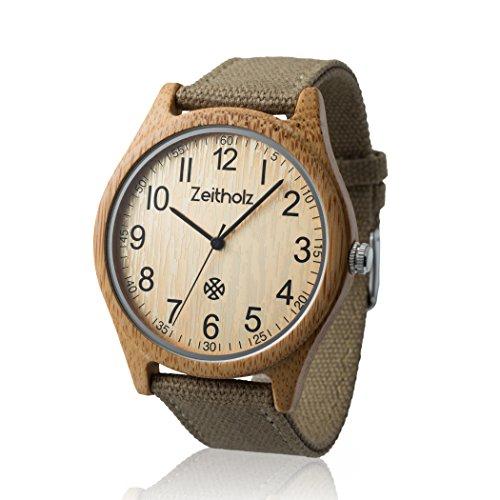 Zeitholz Unisex-Uhr analog Quartz-Uhrwerk mit beige Canvas Armband Modell Altenberg