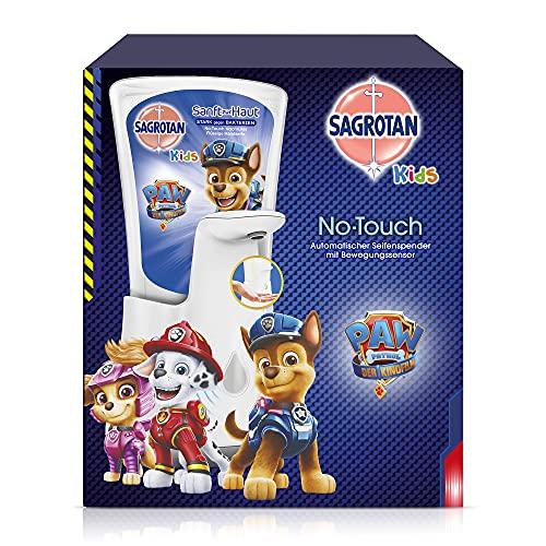 Sagrotan No-Touch Kids Automatischer Seifenspender – Inkl. Sagrotan Nachfüller Aloe Vera – Paw Patrol Edition – 1 x 250 ml Flüssigseife