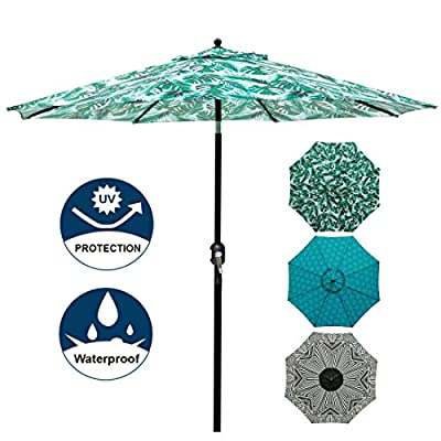 Blissun 9' Patio Umbrella Aluminum Manual Push Button Tilt and Crank Garden Parasol (Leaf Green)