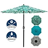 Blissun 9' Patio Umbrella Aluminum Manual Push Button Tilt and Crank Garden Parasol (Leaf Green)