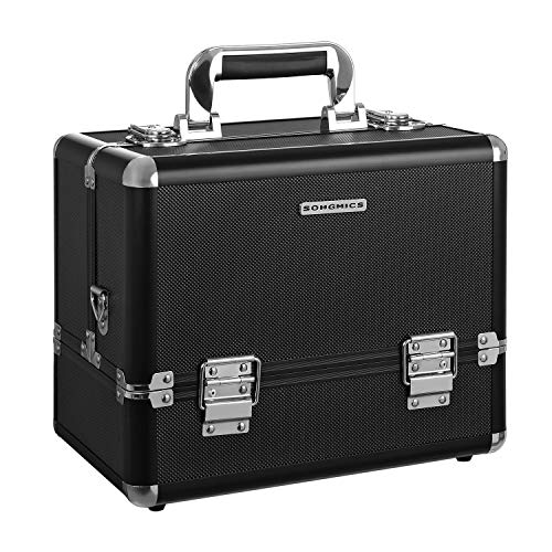 SONGMICS Beauty Case Cofanetto Trucco 30,5 x 20 x 24 cm Make Up Bagaglio a Mano Valigia Nail Art JBC225B