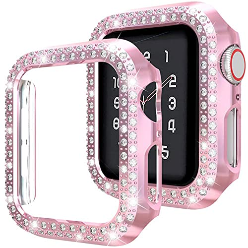 Compatible para Apple Watch Case 38 mm 40 mm 42 mm 44 mm, con protector de pantalla de vidrio templado, cubierta brillante Marco protector de diamantes de doble cristal para iWatch Series (B)