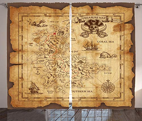 Ambesonne Island Map Decor Curtains, Super Detailed Treasure Map Grungy Rustic Pirates Gold Secret Sea History Theme, Living Room Bedroom Decor, 2 Panel Set, 108 W X 84 L inches, Beige Brown