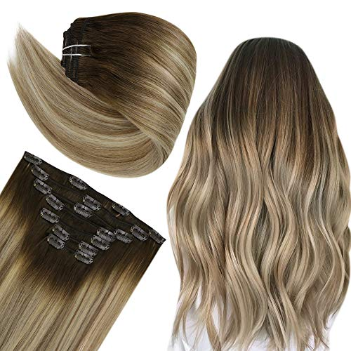 Easyouth Blonde Clip on Extensions Balayage Color Darker Brown Fading to Cinnamon Brown Mix Blonde Hair Extensions Clip in Real Hair Clip in Extensions Human Hair 12 Inch 7pcs 70g
