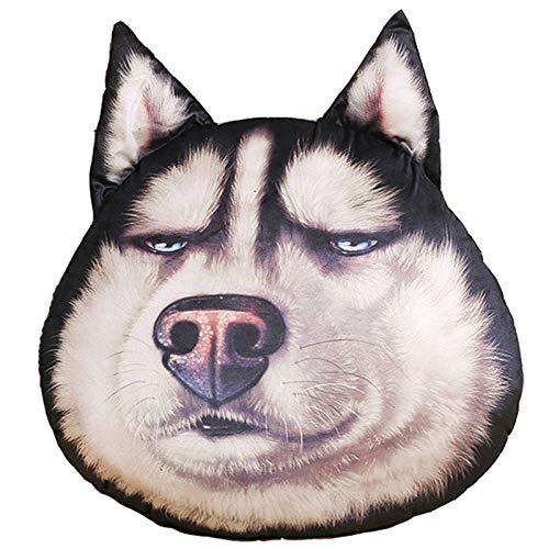 Cojín de emoticono para perro cachorro Husky Shiba Inu Smiley Emoticon de peluche colorido para regalo de Navidad, cumpleaños, dormitorio, sala de estar 350 (color: Husky, tamaño: 38 x 30 cm)