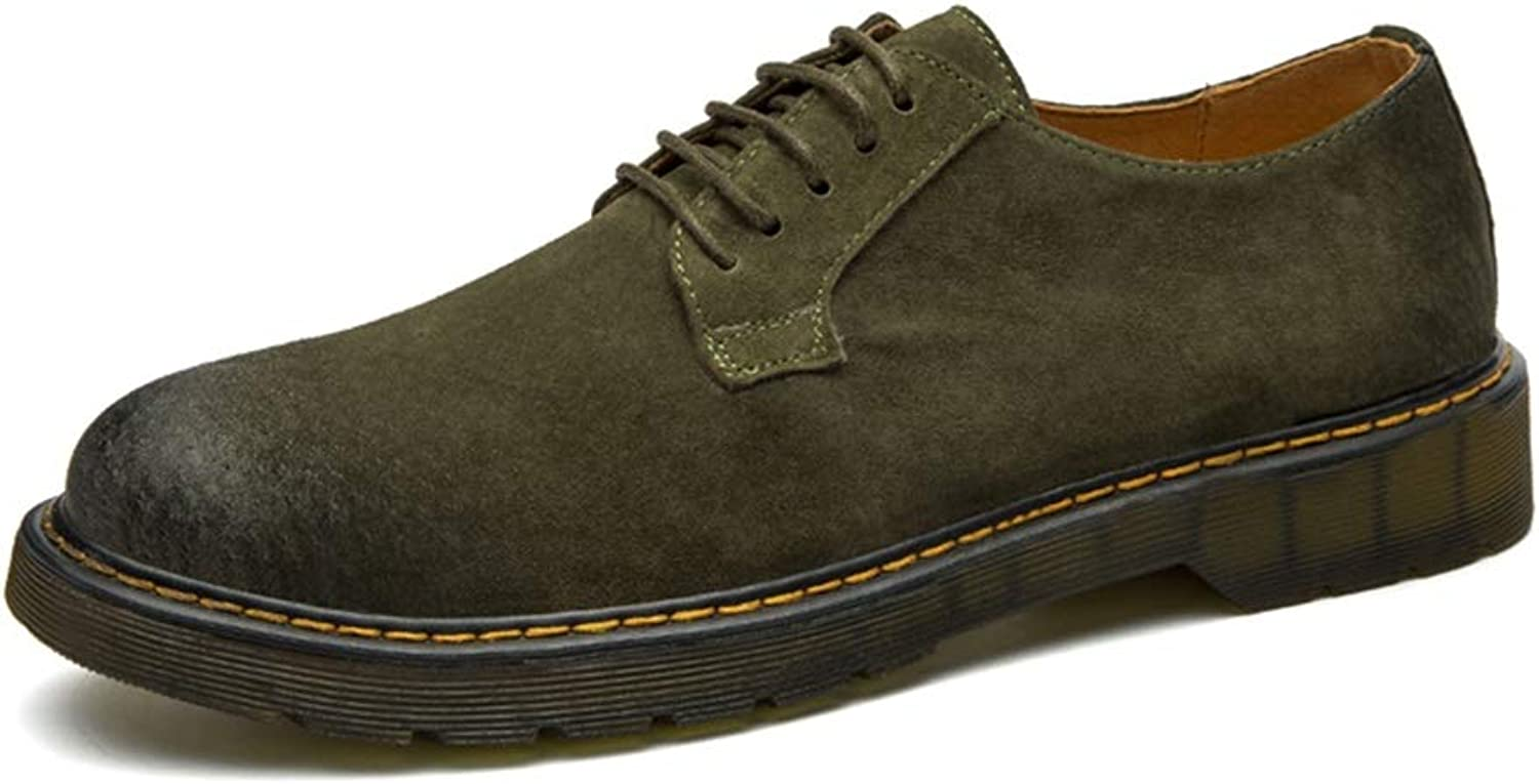 Patent leather Men's Work Boots Low Top Boot Fashion comfortable Lace Up Suede Ankle Short shoes Oxfords Slip On Leather Upper Round Toe Formal wear Dress shoes (color   Army-green, Size   5.5 UK)