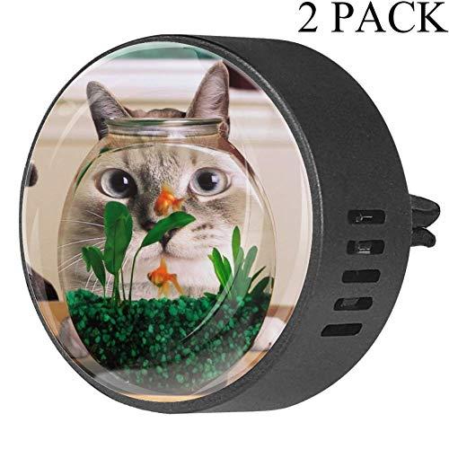 Lurnies Aquarium und Katze Auto Lufterfrischer Aromatherapie ätherisches Öl Diffusor Entlüftungsclip (2 Packungen) mit Kristallglas, fünf Düfte erhältlich Orchidee