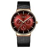 LIGE Relojes Hombre Moda Acero Inoxidable Impermeable Cuarzo analógico Deportiva Casual Negro Calendario Malla Relojes