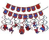 Nesloonp Spiderman Deko für Kinder 30 Stück Spiderman Deko für Kinder Geburtstag Partei Dekoration Spiderman-Happy Birthday-Banner Plus Pumpe