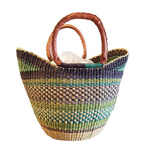Originele Afrika U shopper gevlochten boodschappenmand | Bolga boodschappenmand | handwerk | Bolga mand