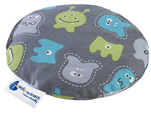 Almohada térmica para bebés 180g Redonda 15 cm Ecológica Natural 100% Algodón Medi Partners Cojin Masaje con calor + frío (Monstruos)