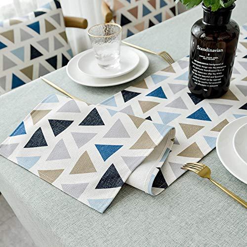 ZXCN Manteles de Mesa Rectangular Efecto para Cocina Solid Color Cotton and Linen Simple decoración del Hogar Oficinas Blue Triangle 30×200cm