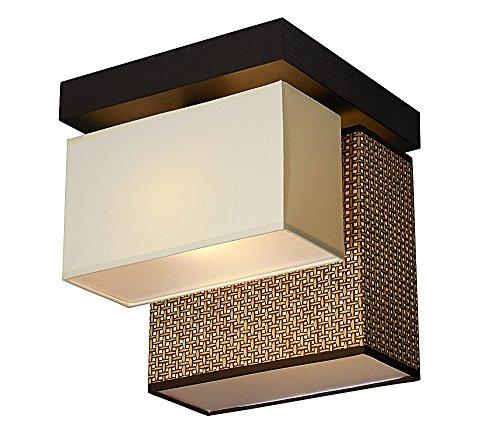 Deckenlampe - Wero Design Bilbao-021BL (Mix China Grass/Creme) - Deckenleuchte, Leuchte, 2-flammig, Holzl, Stoff, LAMPENSCHIRME MIT BLENDEN