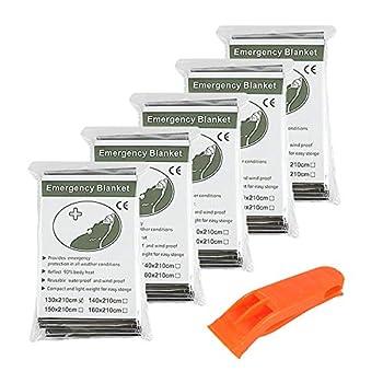 Couverture de Survie x5 De Haute Qualité Emballées Individuellement - Réfléchissantes afin de Maintenir votre Chaleur Corporelle - Couvertures Idéales pour l'Extérieur, la Survie