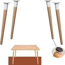 Set van 4 massief houten meubelpoten, ronde beuken tafelpoten, taps toelopende houten vervangende poten, keukentafelpoten,...