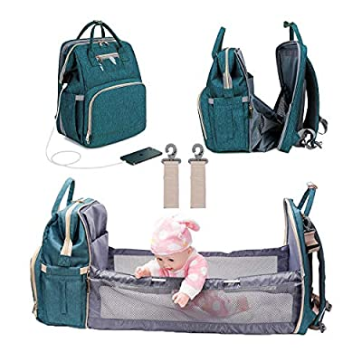 3 in 1 Diaper Bag Backpack Foldable Baby Bed Multi-functional Waterproof Mummy Bag with USB Charge, Large Capacity Baby Changing Bag (Green)