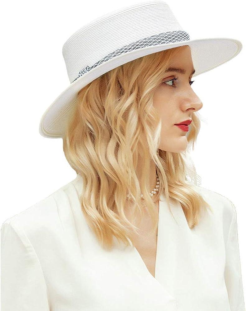 F FADVES Women's Summer Boater Hat Vintage Trilby Fedora Flat Top Derby Hat