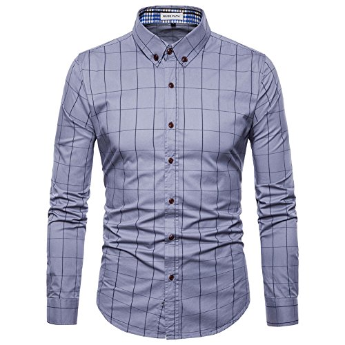 MUSE-FATH-Mens-Long-Sleeve-Plaid-Classic-Shirt-Casual-Cotton-Shirt