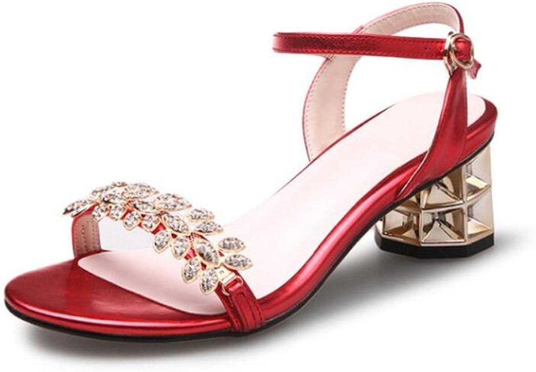DANDANJIE Damenschuhe Strass Blockabsatz Schnalle Sandalen im Freien Damenmode Sommer Schuhe (Farbe   Rot, Größe   35 EU)
