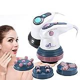 Dispositivo de masaje de infrarrojos eléctrico profesional anticelulítico Dispositivo de cavitación para reducir las grasas contra la celulitis con 4 masajes en la cabeza(rojo)