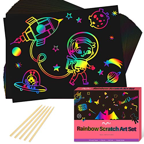 MayMoi Scratch Paper Art Set -60 Pcs Rainbow Magic Scratch Paper Crafts Arts Supplies Kits for Party Christmas Birthday Gift