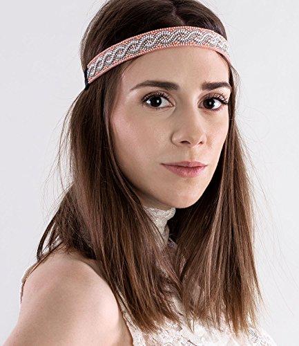SIX Haarschmuck, breites elastisches Haarband, bestickt mit Perlen und Strass, Indianer, Karneval, rosa (456-564)
