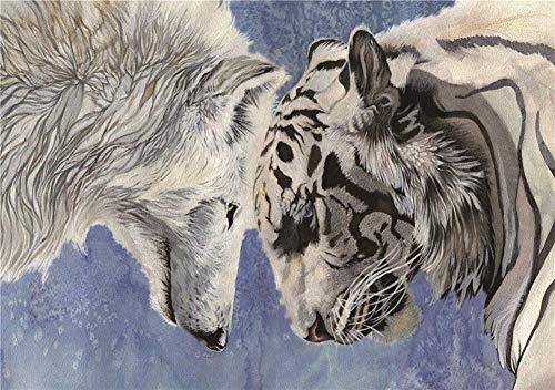 White Wolf and White Tiger  de madera de 1000 piezas  educativo de descompresión para niños adultos