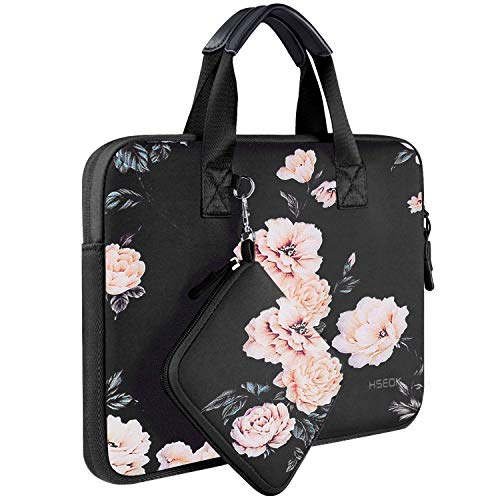 Laptop Sleeve 13 13.3 13.5 Inch Case for MacBook Air Pro 13'-13.3', Surface Laptop 13.5', Water Repellent Elastic Neoprene Notebooks Hand Bag with Handle and Small Case, Peony