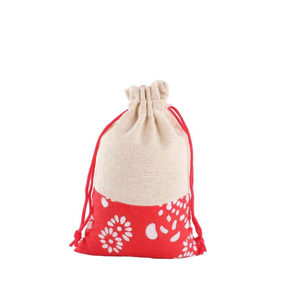 CZSM 10 Piezas del Estilo Chino del Regalo del Caramelo Bolsas de arpillera algodón bolsita Bolsas con cordón de joyería de la Boda del Partido de Navidad Bolsas de Monedas,Rojo,10×14cm: Amazon.es: Hogar