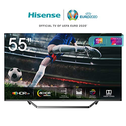 "Hisense 55U71QF Smart TV ULED Ultra HD 4K 55"", Quantum Dot, Dolby Vision HDR, HDR10+, Dolby Atmos, Full Array Local Dimming, Alexa integrata, Tuner DVB-T2/S2 HEVC Main10 [Esclusiva Amazon - 2020]"