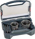 kwb Power-Box Bohrkronen-Set mit Durchmesser-Größe 68 mm und 82 mm – hartmetall-bestückt, schlagfest, inkl. – 2x Zentrierbohrer, SDS Plus u. Sechskant-Schaft