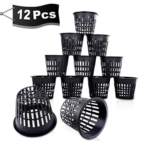 AMZ Net Pot Hydrokultur Pflanzen Mesh Topf Net Kunststoff Hydroponics Netztopf Plant Net Cup Töpfe für Hydroponics Supplies(12 Stücke)
