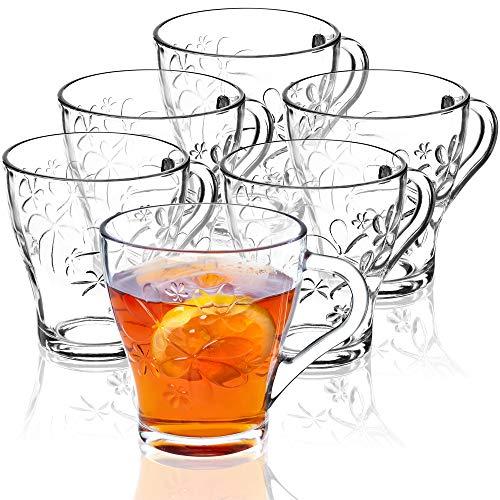 KADAX Szklanki z uchem, zestaw 6 sztuk, przezroczyste kubki do kawy, herbaty, soków, szklanki do wody, nadają się do mycia w zmywarce (Christin, 410 ml)
