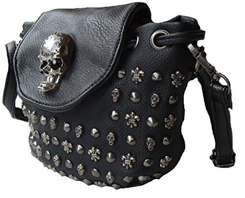 Rockabilly Punk Rock Baby Tasche Schwarz Black Skull Totenkopf Schultertasche Bag