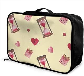 Custom Travelers Duffel Bag Lightweight Fashion Creative Hourglass Ornaments Bag For Luggage Foldable Portable Storage Luggage Bag With Trolley Sleeve