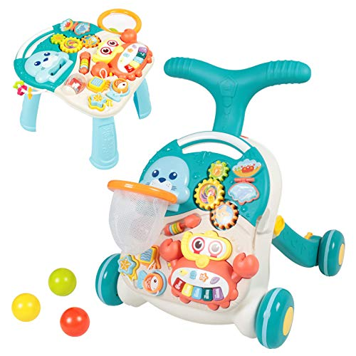 Baby Walkers for Boys and Girls - Sit-to-Stand Learning Walker – Baby Push Walkers with Activity Table – Activity Walker for Baby Boy and Girl (Blue)