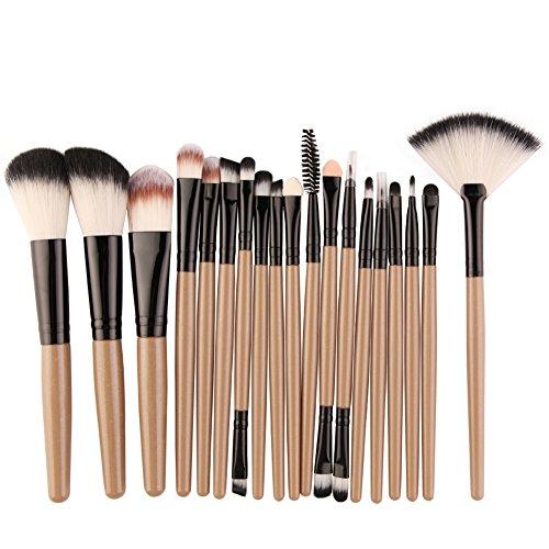 Demarkt 18 Pcs Ensemble de pinceaux de Maquillage est Facile pour Tous Les Types d'outils de Beauté de Maquillage (Marron) 19.5 * 13 * 2CM