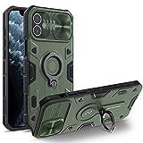 Nillkin CamShield Armor Custodia per iPhone 12 Mini Cover, [Protezione Fotocamera] Bumper Protettiva Custodia Anti Graffio Hard PC e TPU Silicone Case con Supporto ad Anello per iPhone 12 Mini (Verde)