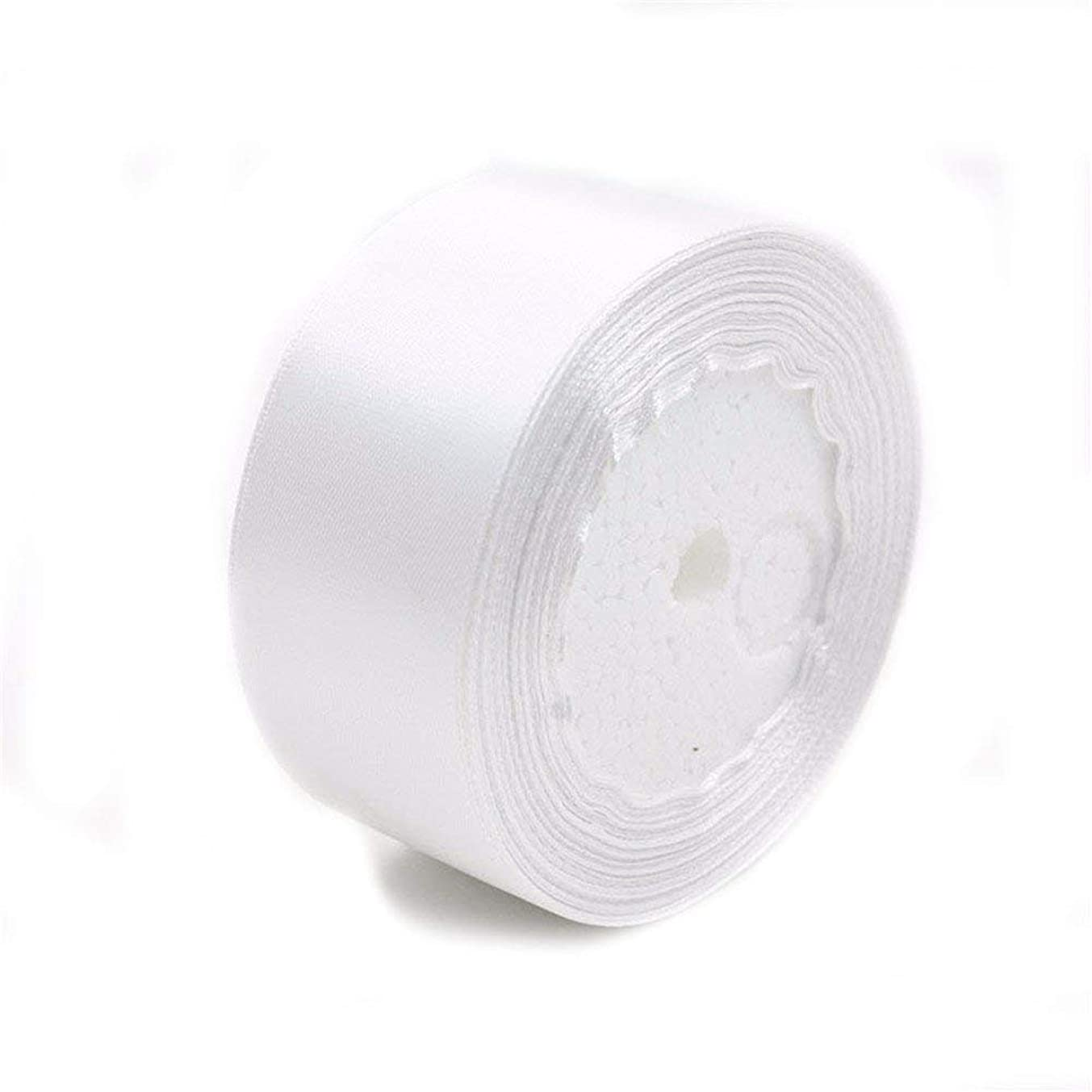 AKOAK 2 inches 25 Yards White Satin Ribbon Perfect for Wedding, Gift Wrapping
