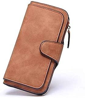 Elios Fashion Soft Vegan PU Leather Trifold Ladies Clutch RFID Blocking Phone | Credit Card Holder |Organizer |Purse |Wallet for Women with 14 Card Slots (Brown)